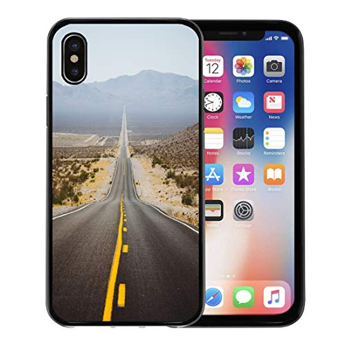 Emvency Phone Case for Apple iPhone Xs Case/iPhone X Case,Classic Panorama View of Endless Straight Road Running Through Soft Rubber Border Decorative, Black