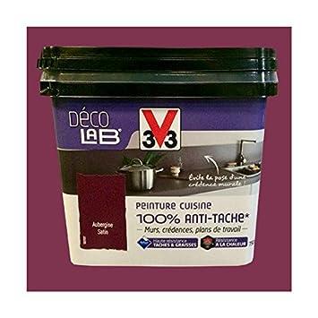 V33 Déco Lab Peinture Cuisine 100 Anti Tâche Aubergine Amazonfr