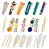 Allucho 22 Pack Pearl Hair Clips Fashion Hair Barrettes Sweet Artificial Macaron Acrylic Resin Hairpins for Women,Ladies and Girls Headwear Styling Tools Hair Accessories (Color: 22 pcs pearl and acrylic hair clips)