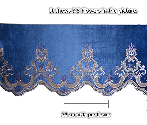 (Window Valance Blue For Living Room Royalty Delicate Embroidery Curtain Flocked Curtain Drape 1 Panel Blue Curtain Valance Swag for Window, Rod Pocket Top, Accept Custom Size)