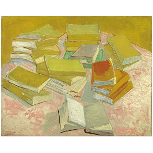 Montones de novelas francesas Famoso cuadro de pintura al oleo Poster de arte para la sala de estar Decoracion del hogar Regalo Obra de arte Impresion en lienzo -60x80cm Sin marco