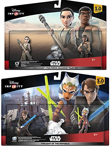 Star Wars Infinity 2-Pack Twilight of The Republic - Anakin Skywalker and Ahsoka Tano / Force Awakens Play Set Rey & Finn with Stormtrooper Power Disc 4 figures