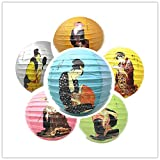 THY COLLECTIBLES 6 Pcs Oriental Chinese Japanese Festival Party Celebration Home Decor Lantern Geisha Design 6 Various Colors 16''