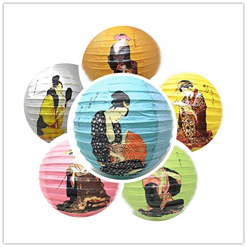 THY COLLECTIBLES 6 Pcs Oriental Chinese Japanese Festival Party Celebration Home Decor Lantern Geisha Design 6 Various Colors 16""
