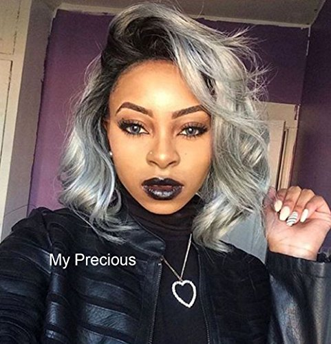 Ombre Gray Wavy Short Bob Wig 2 Tones Synthetic Lace Front Wigs Dark Roots to Silver Gray Replacement Full Wigs for -