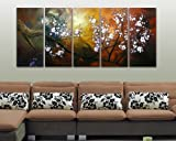 Sangu 100% Hand-painted Oil Paintings 3-Piece White Flowers Tree Blosssom Modern Canvas Wall Art Paintings For Living Room.