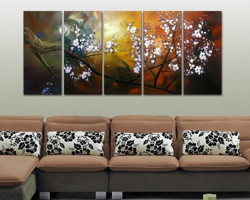 Sangu 100% Hand-painted Oil Paintings 3-Piece White Flowers Tree Blosssom Modern Canvas Wall Art Paintings For Living (Buy Bob Ross Painting Original)