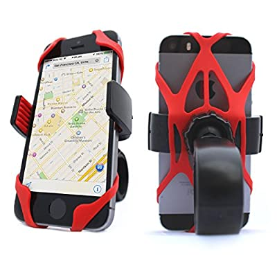 4-Pack Bike Motorcycle Mount Phone Holder Tether - X Web Grip Rubber Band Universal Silicone Elastic Security Strap for Mountain & Road Sport Bicycle Handlebar Cell Phone Cradle, (2 Black & 2 Red): Electronics