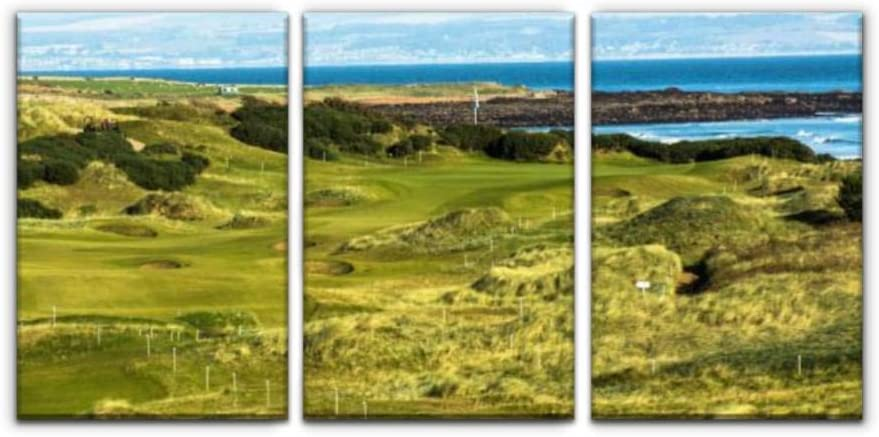 Amazon Com Gracelapin Canvas Wall Art Decor Kingsbarns Golf Links Scotlands And Pictures Printed Oil Painting Home Decoration 3 Panels Posters Prints