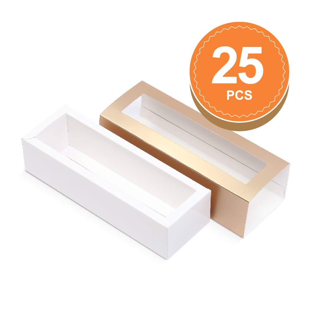 BAKIPACK Macaron Boxes for 6 Macarons (Pack of 25) Gold Macaron Boxes with Interior Meament 7.25'' x 1.8'' x 1.75'' Macarons Box with Clear Window (without Macaron inside) by BAKIPACK (Image #1)