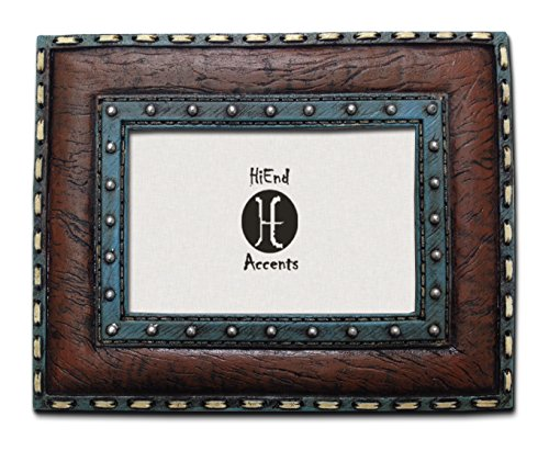 HiEnd Accents Western Turquoise Frame with Stitching Leather Insert, 4 by 6-Inch -