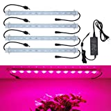 Grow Lights for plants, 45W, 4 pcs Extendable 16 Inches waterproof LED Grow Light Strip for Greenhouse, Plant Growth Cabinet Shelf; Easy Installation LED Light Strip for Plant Grow--[4-Strip-Kit]