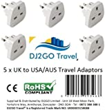DJ2GO TRAVEL High Quality USA/Canada/Australia Travel Adapter plugs, International travel adaptors - Bulk buy Travel Plus, White, 5 pack
