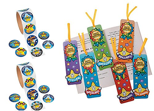 STUDENT REWARDS - 200 Star Student Stickers & 48 Star Student Bookmarks Classroom/Teacher/Pupil Reward