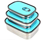 Stainless Steel Lunch Containers - Insulated Food Bento Box - 3 In 1 Sandwich Container For Adults and Kids - Leak Proof Air Tight Lids - BPA Toxin Free | Blue 3 Pcs.