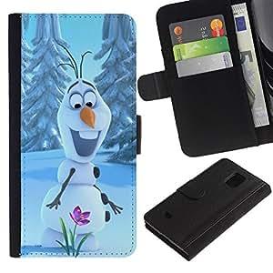 For Samsung Galaxy S5 Mini(Not S5), SM-G800 Case , Happy Spring Flower Winter - la tarjeta de Crédito Slots PU Funda de cuero Monedero caso cubierta de piel