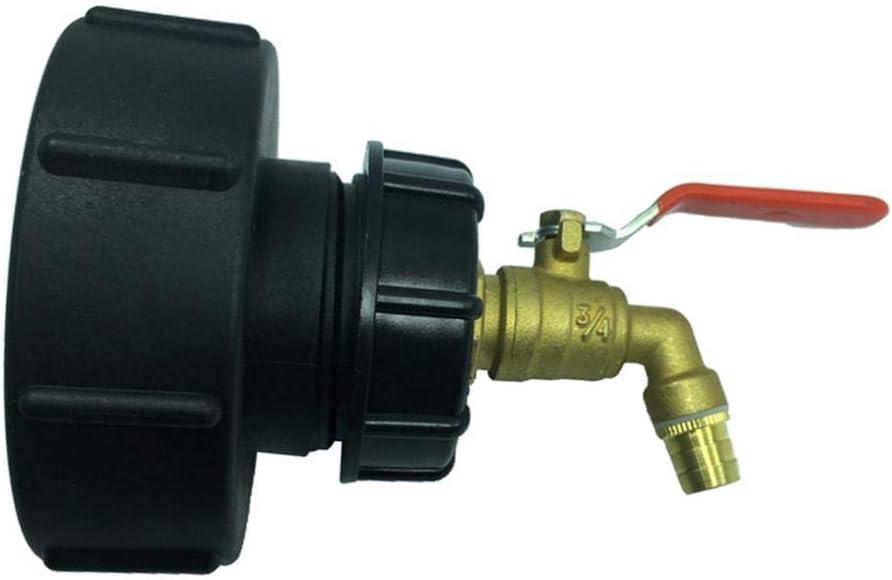 H HILABEE Adaptador IBC para Bidón de 1000 litros de PP + Latón Resistente Rosca 100 mm Boca 14mm de Angulo 45