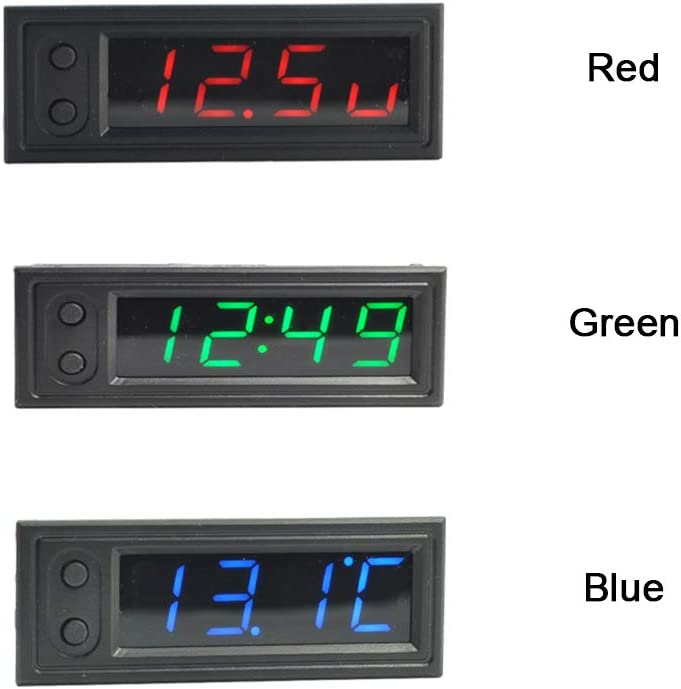 YOEDAF Voltmeter 3 in 1 Thermometer Electronic Universal Luminous Digital Display Multifunctional Led Mini Car Clock Portable Accessories Accurate Blue
