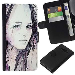 EJOY---La carpeta del tirón la caja de cuero de alta calidad de la PU Caso protector / Samsung Galaxy Core Prime / --Chica Acuarela Pintura Arte Negro