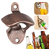 Godagoda Cast Iron Kitchen Bottle Open Wall Mount Opener Rustic Beer Decorator,Wall Mounted Bottle Opener with Free Screws