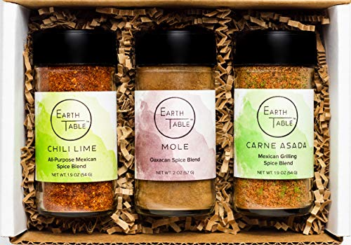(Earth Table Globally-Inspired Spice Blends (Viva Mexico), 3 Pack With Chili Lime, Mole, and Carne Asada Seasoning)
