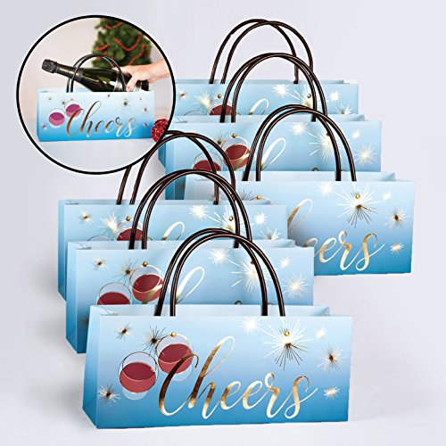 (Cheers Wine Gift Bags Set of 6 Perfect for Champagne, New Years Eve, Charity Events and Celebrations by Simply Charmed)