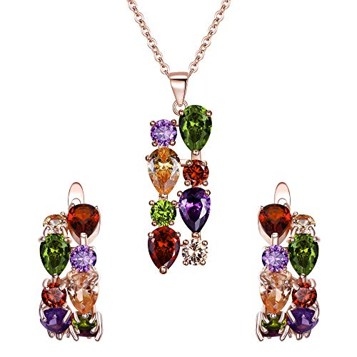 EVER FAITH Gorgeous Multicolor Round Pear CZ Drop Bridal Necklace Earrings Set for Women Rose Gold-Tone