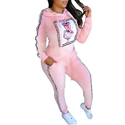 OLUOLIN Womens 2 Pieces Velour Outfit Hooded Tracksuit Casual Print Sweatsuits at Women's Clothing store