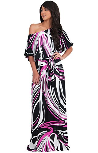 Koh Koh Women's One Shoulder Band Print Cocktail Long Maxi Dress - Small - Pink
