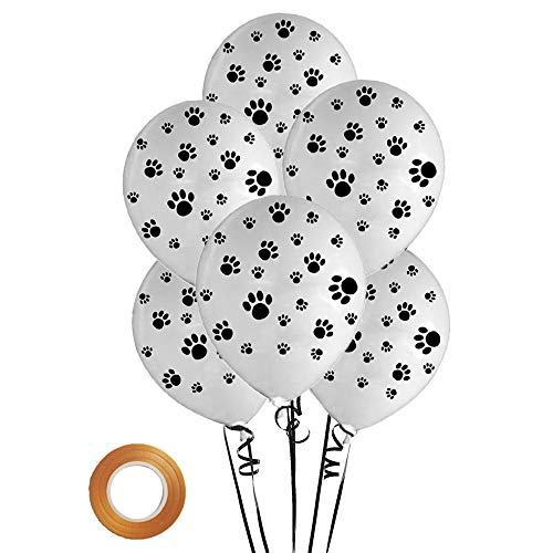12 inch Latex Paw Balloons-White 25 Count For Paw Patrol Theme Party Birthday Party Decor]()