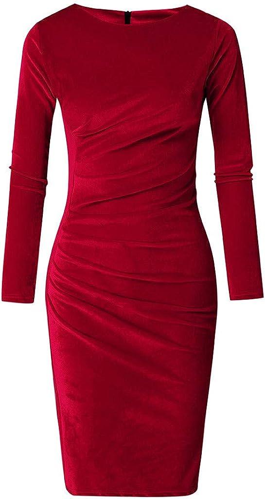 GreatestPAK Womens Elegant Stretch Velvet Long Sleeve O Neck Solid Fashion Work Slim Fit Office Casual Midi Dresses