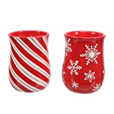 Embossed Cozy Hand Mugs Set of Two Red and White Candy Cane and Snowflake Holiday Christmas Theme
