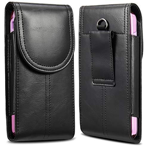KIWITATA iPhone 8 Plus 7 Plus XS Max Belt Holster,kiwitatá Vertical Premium Leather Belt Pouch Carrying Case [Belt Loop] Crazy Horse for Galaxy S9 S8 LG G6 Black