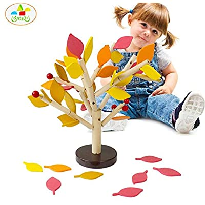 Autumn Water Assembled Tree Wood Green Leaves Building Montessori Wooden Toys Chopping Block Early Educational Toy Children Learning Toy: Toys & Games