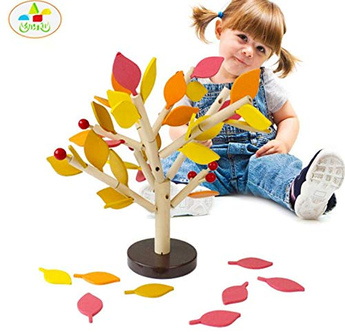Autumn Water Assembled Tree Wood Green Leaves Building Montessori Wooden Toys Chopping Block Early Educational Toy Children Learning Toy