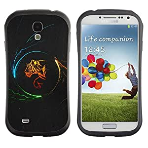 LASTONE PHONE CASE / Suave Silicona Caso Carcasa de Caucho Funda para Samsung Galaxy S4 I9500 / Tiger Profile Art Portrait Fire Big Cat Wild Neon