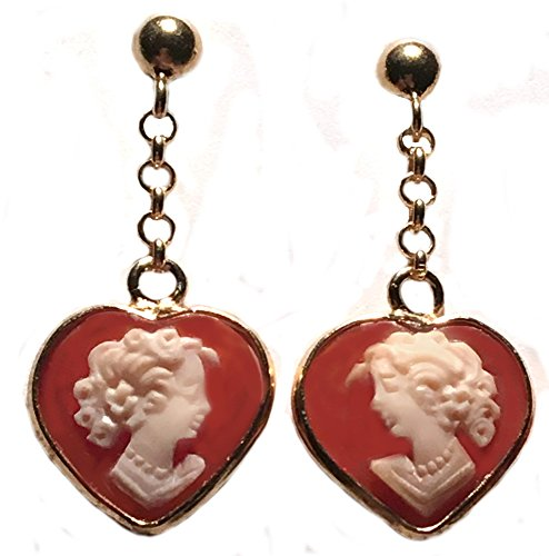 Earrings Dangle Post Back Cameo Italian Sterling Silver 18k Gold Overlay Carnelian Shell Heart Shape (Gold Cameo Post Earrings)