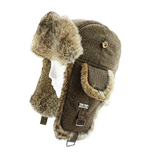 FUR WINTER Wool Blend Swallow Gird Rabbit Fur Aviator Ski Trapper Trooper Hat BRN S/M