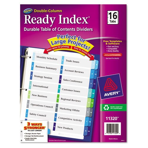 Ready Index Two Column Table (Avery - Ready Index Two-Column Table of Contents Divider, Title: 1-16, Multi, Letter 11320 (DMi ST)
