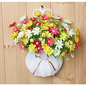 JAROWN Flower Basket Artificial Daisy Silk Rose Flowers in Hanging Woven Basket Container for Wall Home Decoration 31