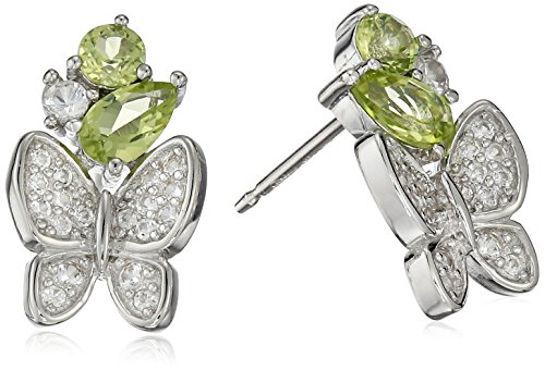 Sterling Silver Genuine Peridot and Created White Sapphire Butterfly Stud Earrings