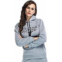 Women Hoodie Sweatshirt Print Reindeer, Keepfit Long Sleeve Cozy Pullover Blouse