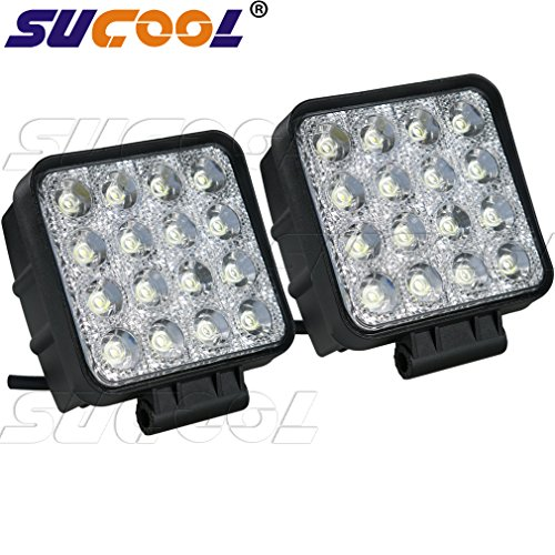 Sucool 2pcs One Pack 4 Inch Square 48w Led Work Light Off Road Flood Lights Truck Lights