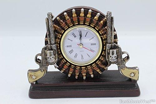 Western Cowboy Cowgirl Rustic Double Gun Pistol Bullets Outline Desk Shelf Electric Clock Home Office Decoration