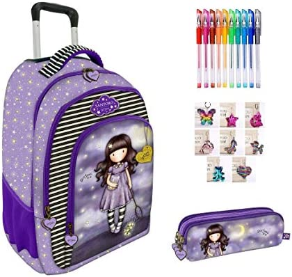 Mochila escolar compatible con Santoro Gorjuss London con estrellas + estuche con 3 cremalleras + llavero con brillantina + bolígrafos de colores: Amazon.es: Equipaje