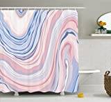 Pink and Blue Shower Curtain Apartment Decor Shower Curtain by Ambesonne, Abstract Pastel Tones in Motion Quartz Crystal Mineral Inspired Picture, Fabric Bathroom Decor Set with Hooks, 70 Inches, Pink Blue