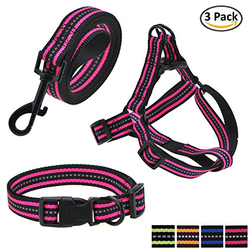 (Mile High Life Night Reflective Double Adjustable Band Nylon Small Puppy Pet Dog Combo (Pink, Collar Leash Harness, Large Neck 16