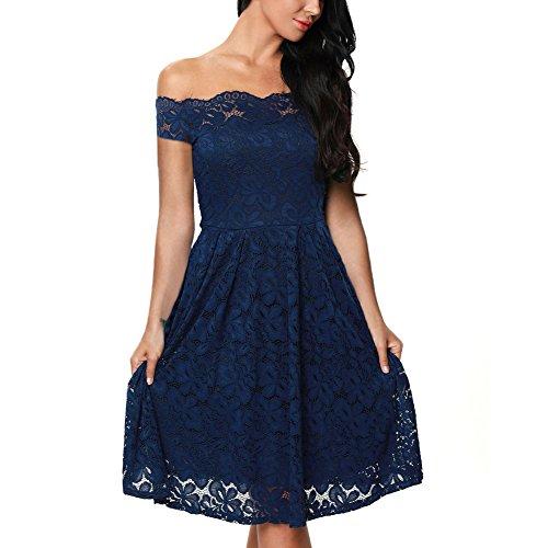 iShine Mujer Vestido Encaje Floral Elegante Mujer Manga Corta Sin Tirantes Vestidos de Coctel Fiesta para Bodas Azul
