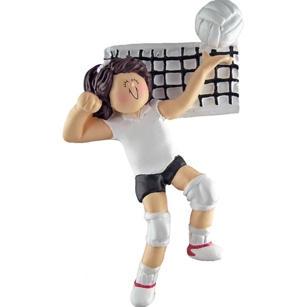 Personalized Volleyball Team Girl Christmas Ornament for Tree 2018 - Brown Hair Woman Athlete Spike Ball Net - Coach Hobby College High School Smash Shooter Profession - Free Customization by Elves