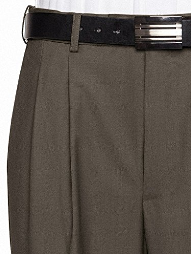 - GIOVANNI UOMO Mens Pleated Front Expandable Waist Dress Pants Olive 38W x 30L
